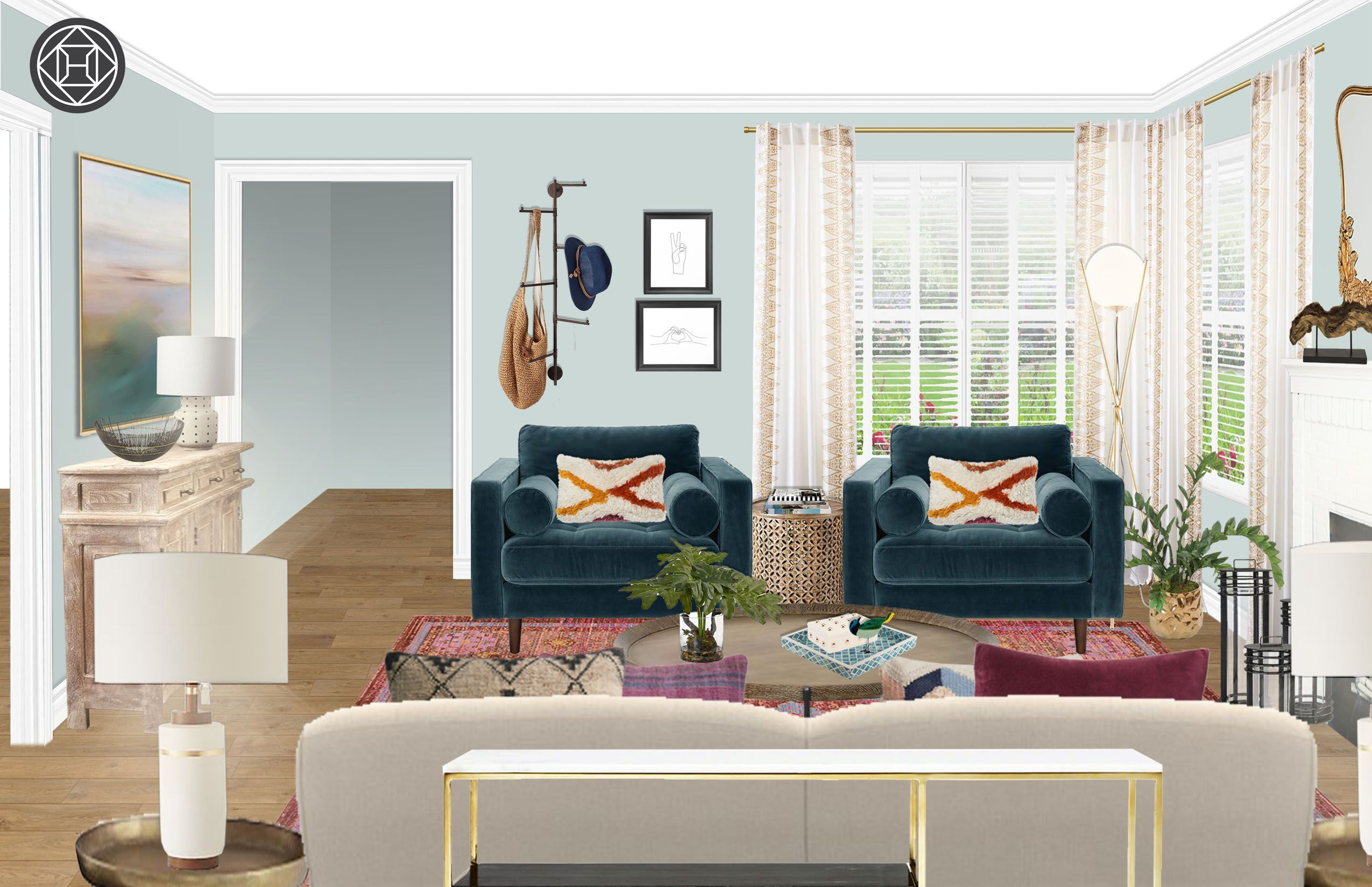 Global Eclectic Living Room Eclectic Bohemian Global Living Room Design By Havenly Interior Designer By Matthew With Images Global Living Room Eclectic Living Room Havenly Living Room