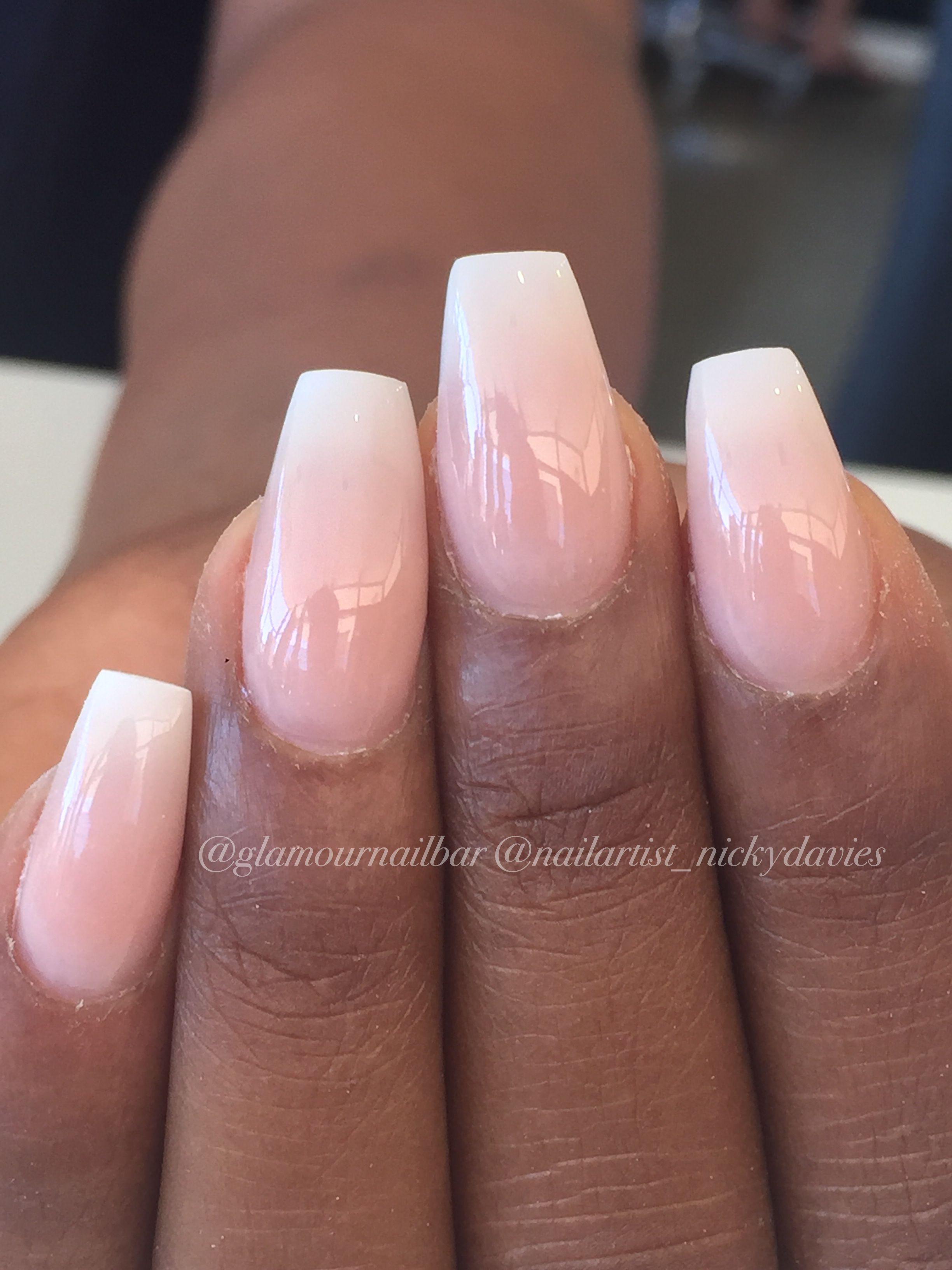 Subtle French Ombre Coffin Nails Square Acrylic Nails Ombre Acrylic Nails French Nails
