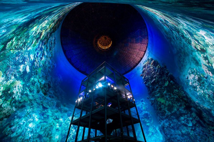 Full Scale 360 Panorama Of The Great Barrier Reef Surrounds Visitors To The Panometer Great Barrier Reef Panorama Installation Art