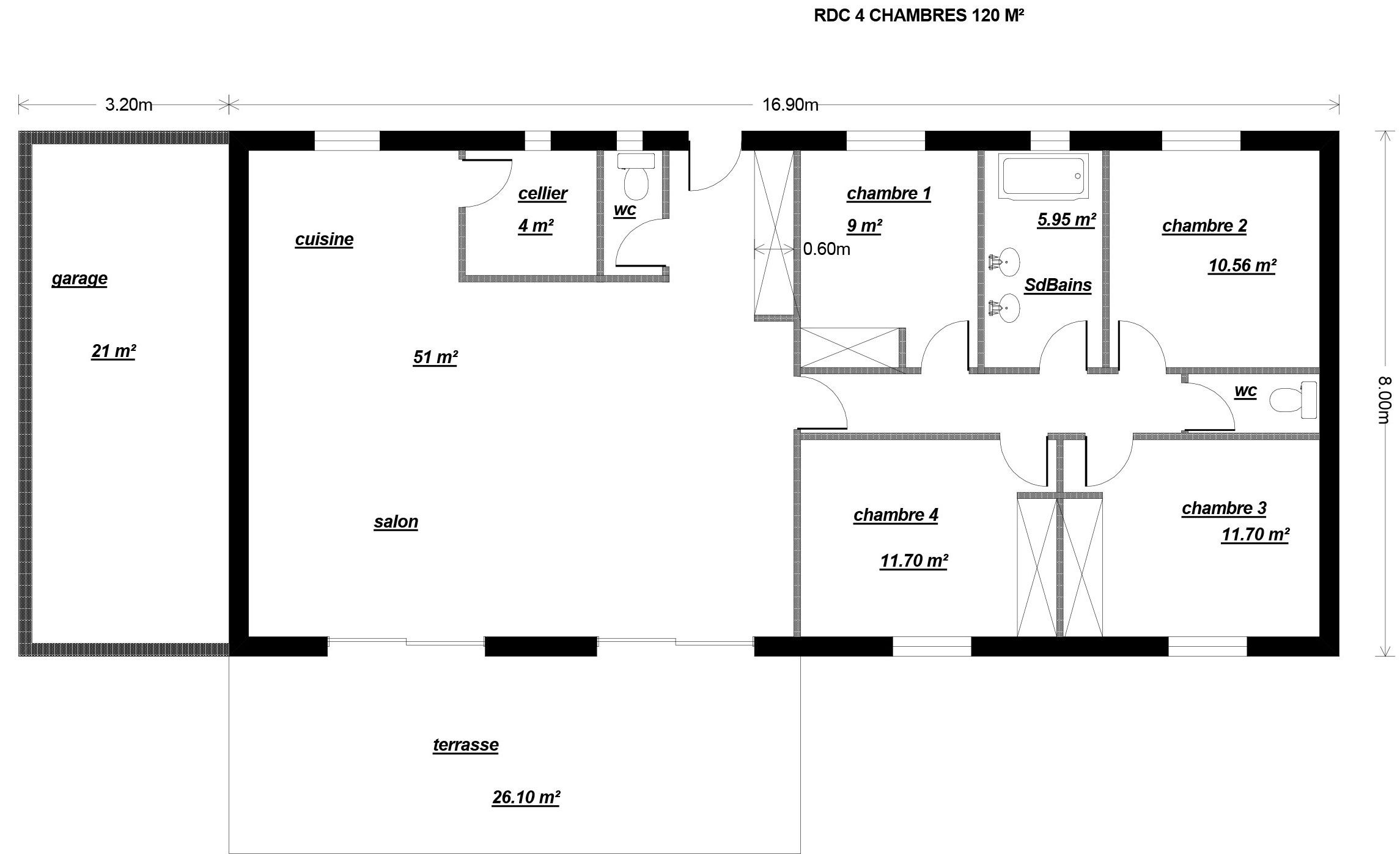 Plan Maison Rectangulaire 120m2 Plan Maison 14