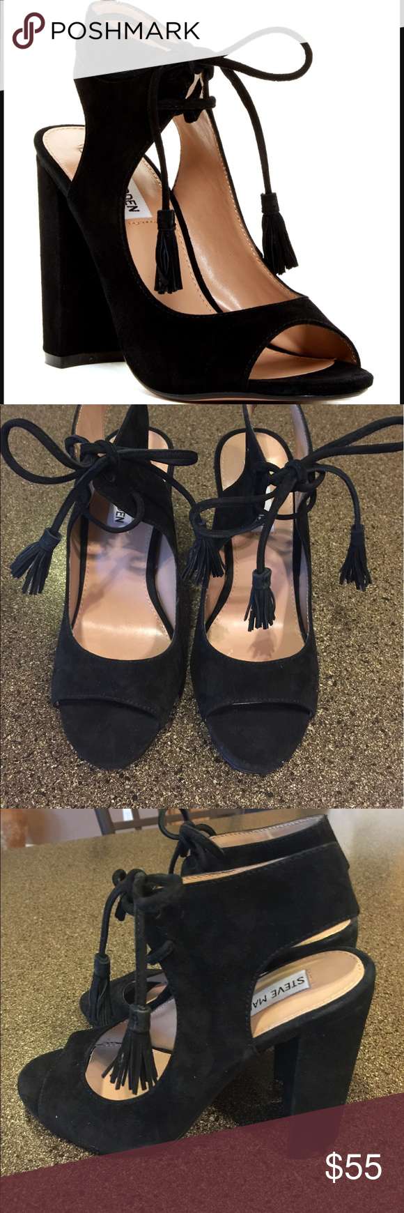 NEW Steve Madden Charlea Block Heel Sandals Sz 7 NEW Steve Madden Charlea Block Heel Sandals Size 7 Black Suede. Gorgeous shoes 😍 Steve Madden Shoes Sandals