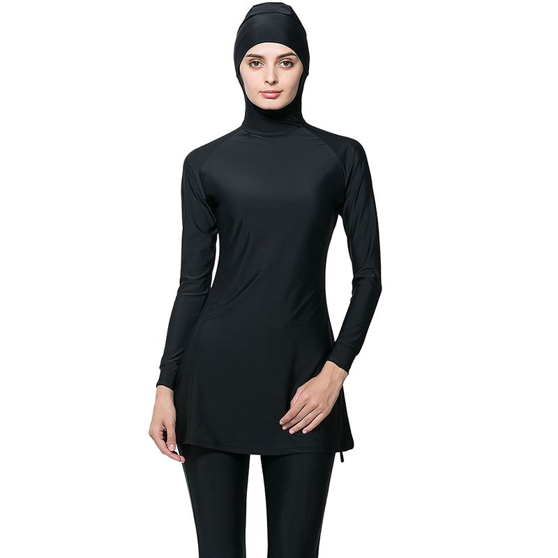 Make Difference Swimming Suit Girl Muslim Solid Black Muslim Swimwear Plus  Size Modest Islamic Swimsuit Hijab 76b7b240bf91