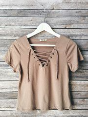 Walker Lace Up Tee (Taupe) - Medium