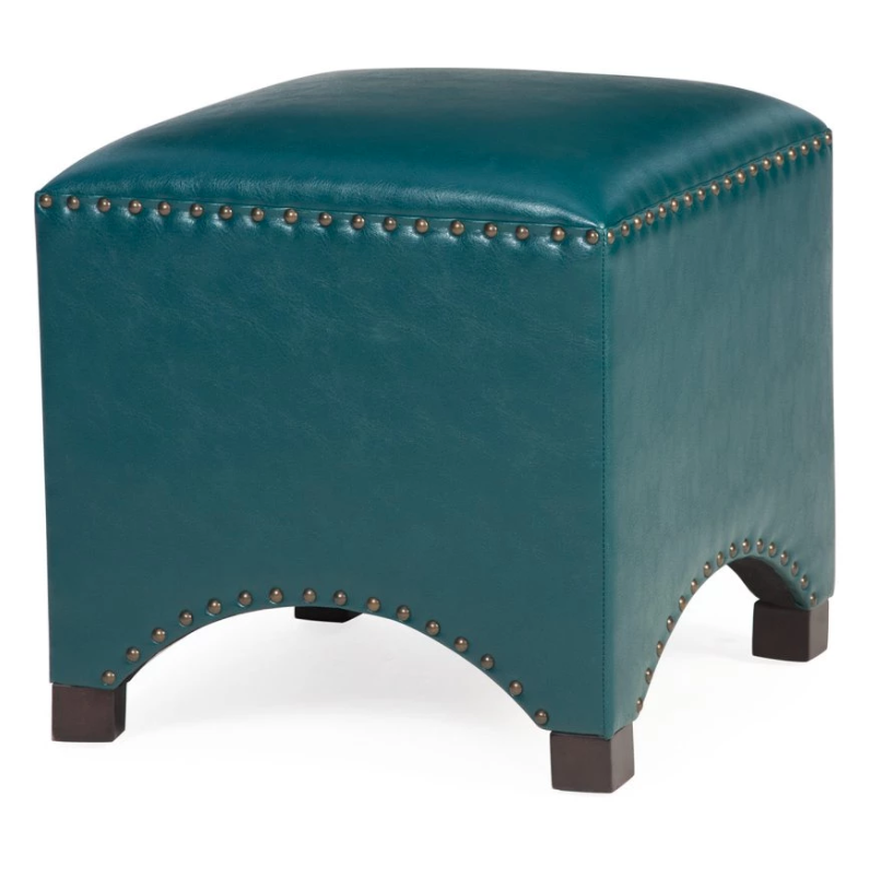 Blue Bonded Leather Ottoman Hassock Footstool Arched Cube Nailhead Stud Trim Ebay Leather Ottoman Ottoman Bonded Leather
