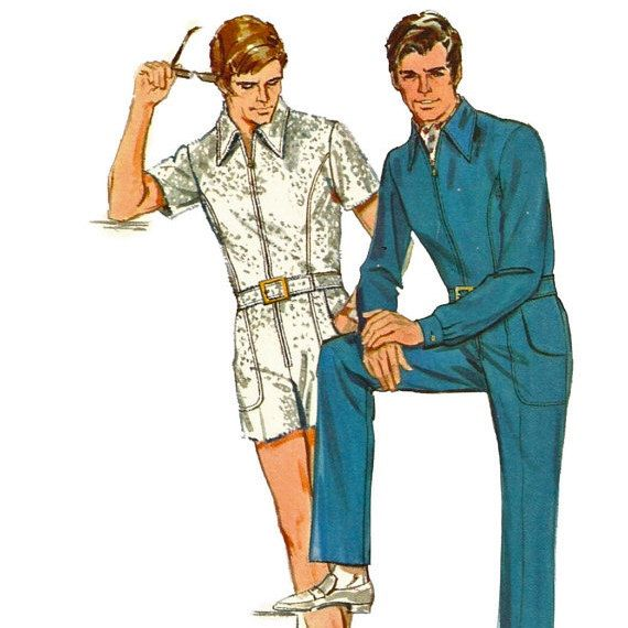 1960s Butterick 5629 Mens Zip Front Jumpsuit Pattern Adult Vintage ...