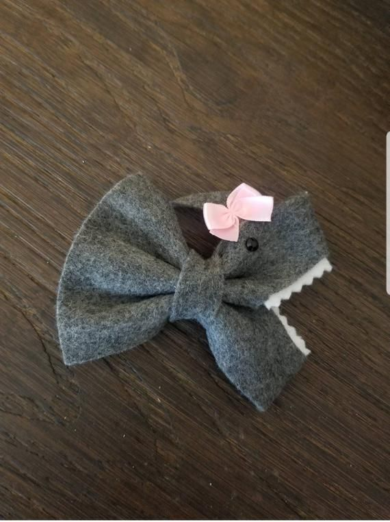 849f39e45ded Dark blue baby shark hair bow, hair clip | Products | Toddler hair ...