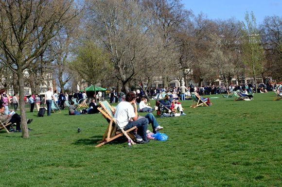 Relaxing in the sun at Hyde Park