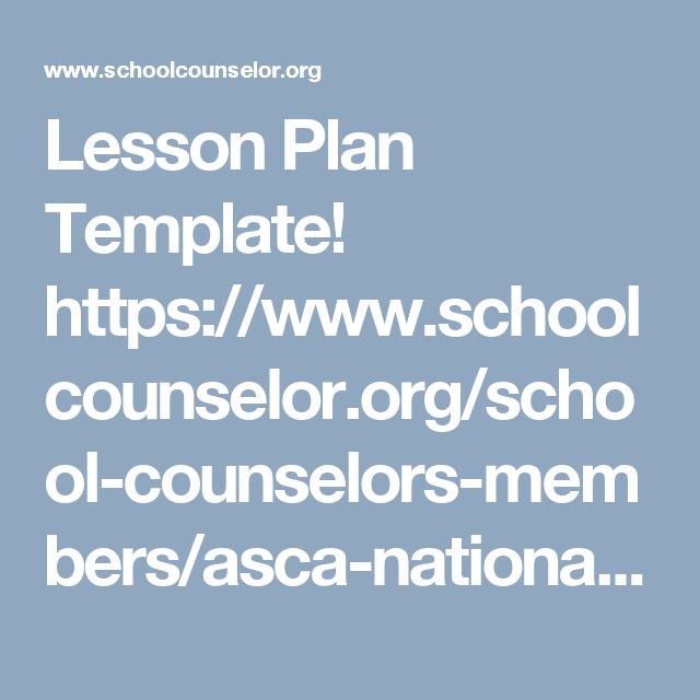 Lesson Plan Template Httpsschoolcounselorschool