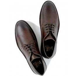 Mens vegan casual derby shoes in dark brown by Wills London