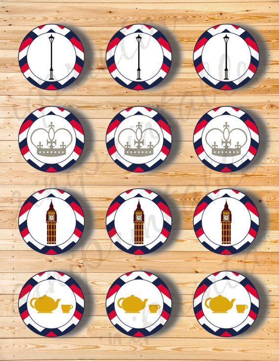 Two Digital Files  Cupcake Topper London 3 by AiniPrintables