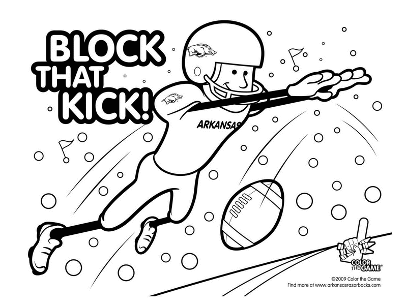For The Younger Razorback Or Young At Heart Arkansas Razorbacks Football Coloring Pages