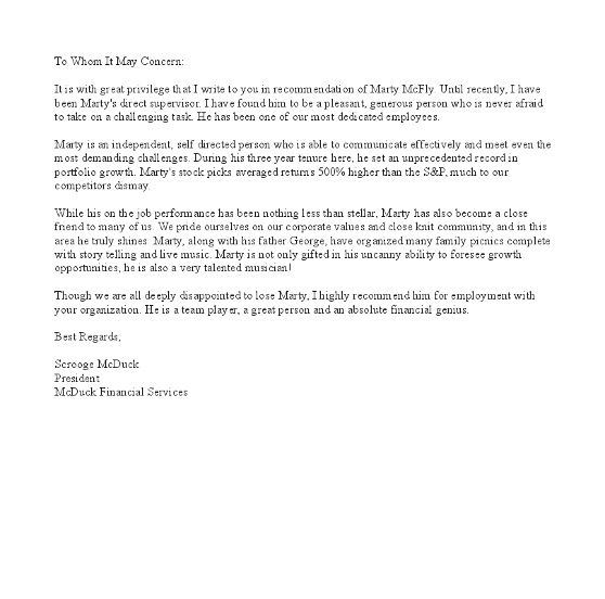 letter of recommendation from a supervisor