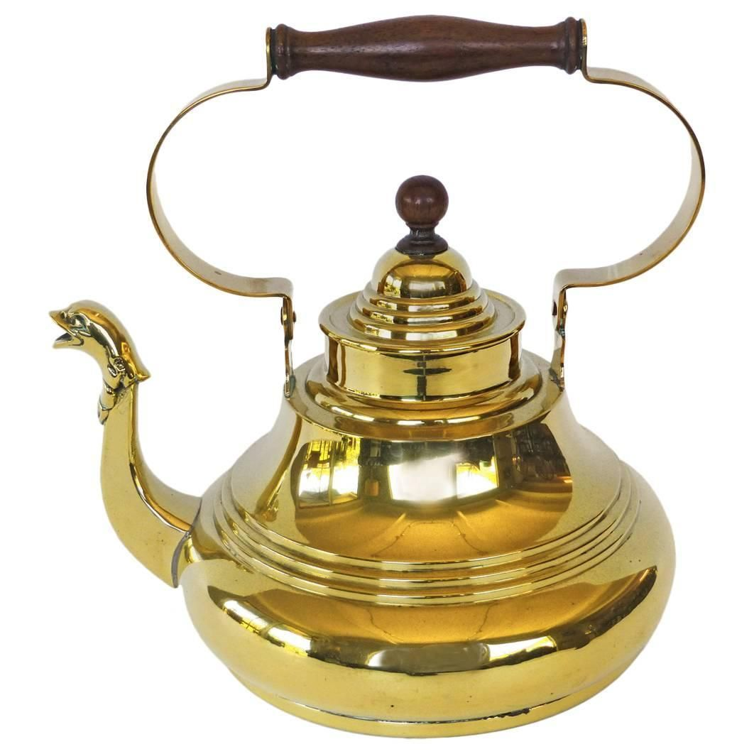 Dutch Brass Tea Kettle with Swing Handle and Cast Serpent Spout, circa 1725