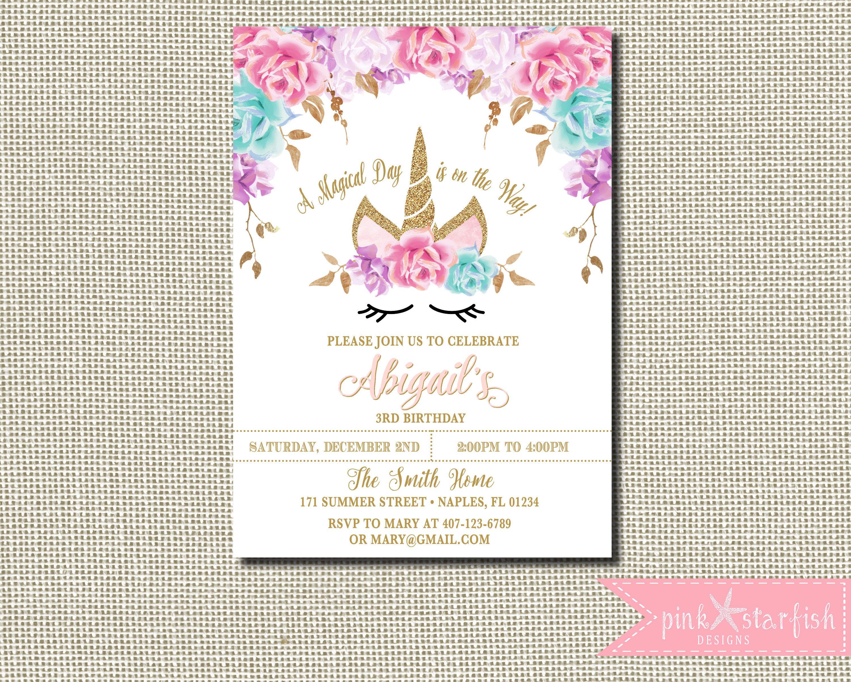 Unicorn Birthday Invitation Magical Invite Floral Face Pink