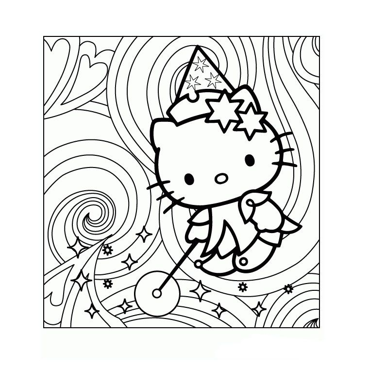 Coloriage hello kitty magique a imprimer gratuit coloriages pinterest coloriage hello - Coloriage tete hello kitty a imprimer ...