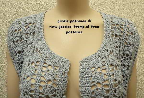 Free Womens Sleeveless Cardigan Crochet Pattern With Fantasy Stitch