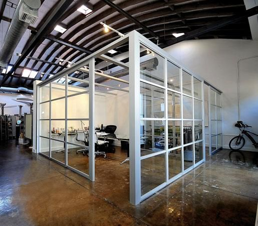 @InteriorDesign: #DailyProductPick @TheSlidingDoor's Office Partitions frame clear tempered glass with silver