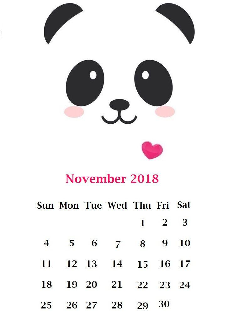 Cute November 2018 Calendar Wallpaper Wallpapers Monthly Calendar