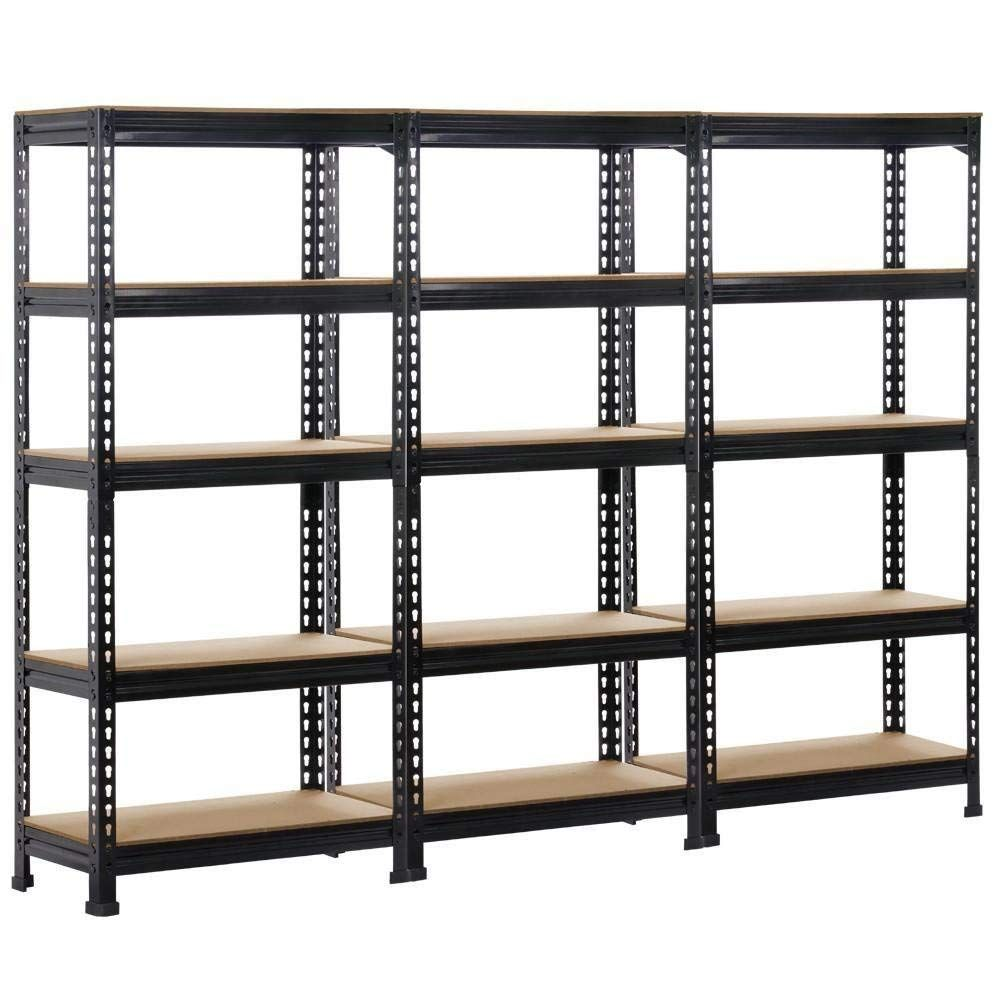 Topeakmart 3 Pack Heavy Duty 5 Tier Commercial Industrial Racking Garage Shelving Unit Adjustabl Garage Shelving Units Industrial Racks Shelving Unit