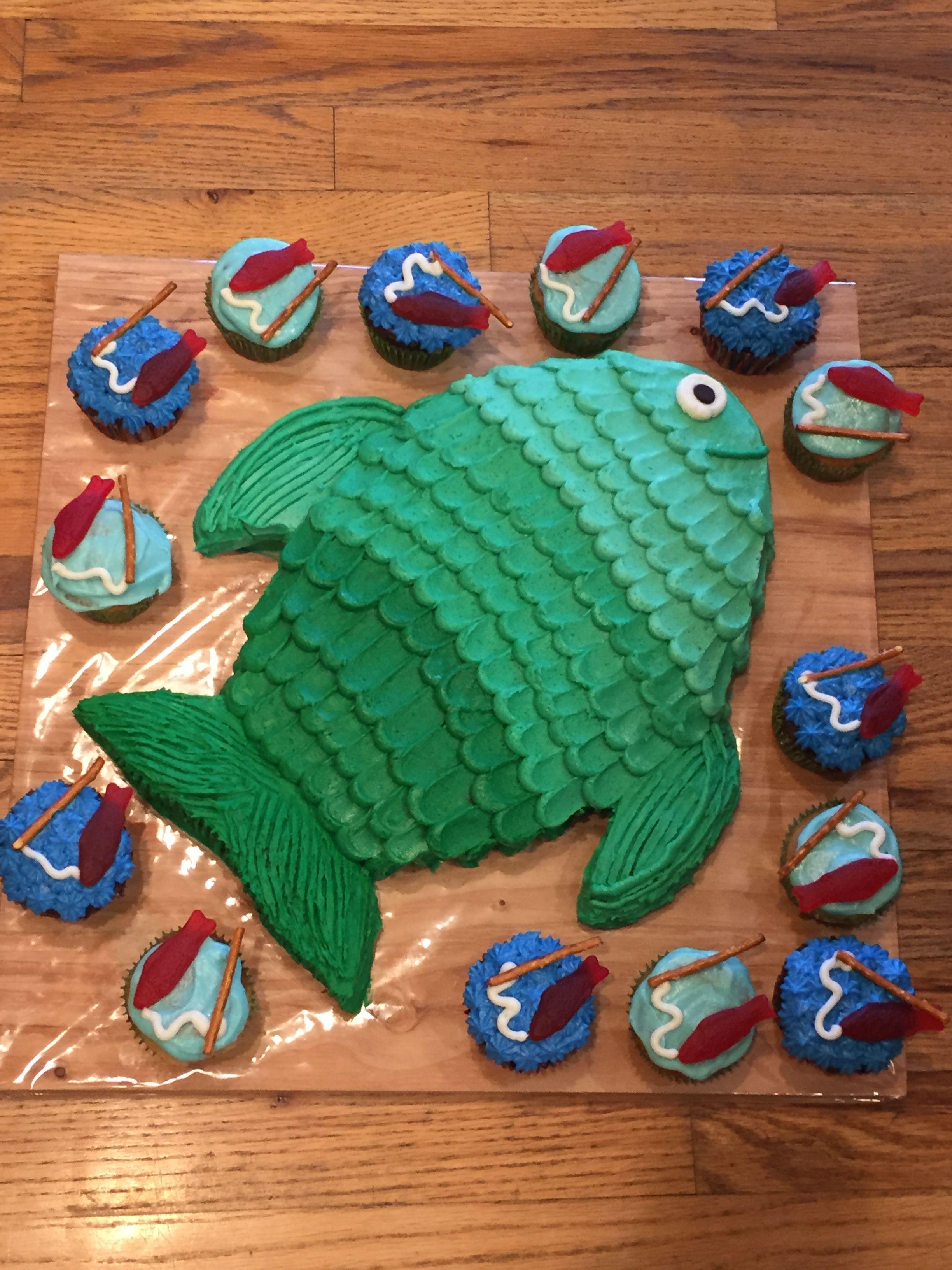 Marvelous Boys Birthday Fish Cake Fishing Themed Birthday Party Fish Funny Birthday Cards Online Overcheapnameinfo