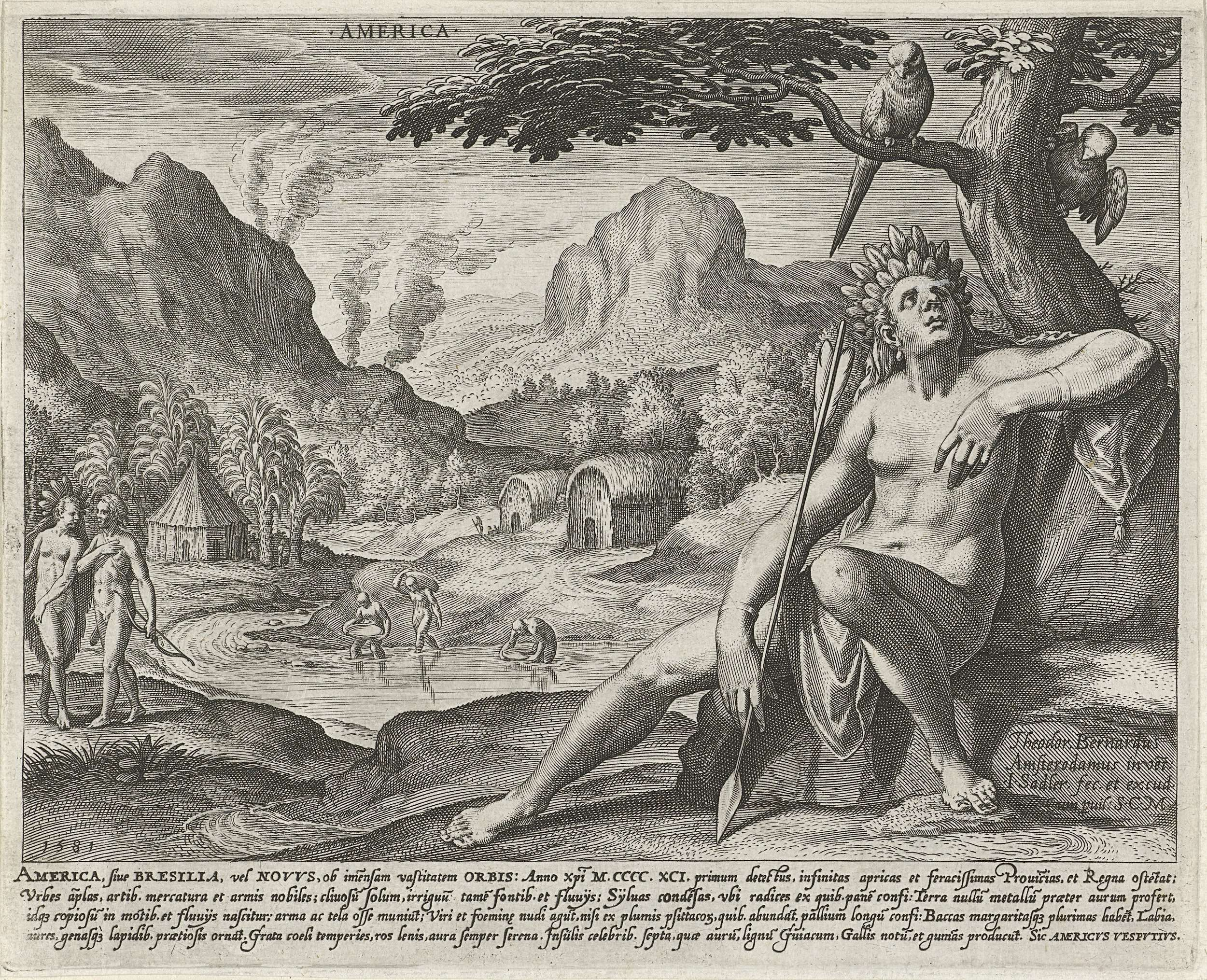 Johann Sadeler (I) | Amerika, Johann Sadeler (I), 1581 | De vrouwelijke  personificatie van het continent Amerika op de voorgrond. In haar handen  een speer.