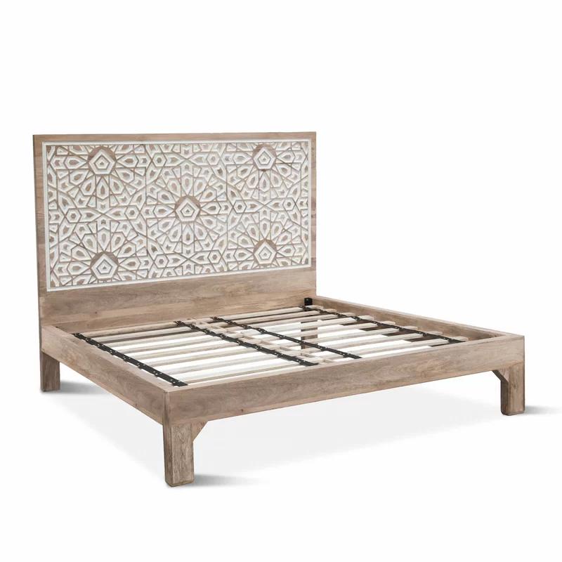 Standifer Mango Wood Geometric Carved King Platform Bed In 2020