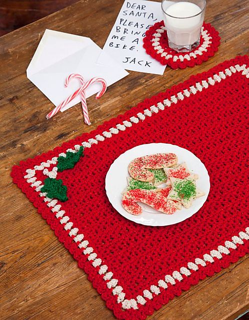 Holiday Placemat Set Crochet Xmas Christmas Placemats Christmas Crochet Patterns