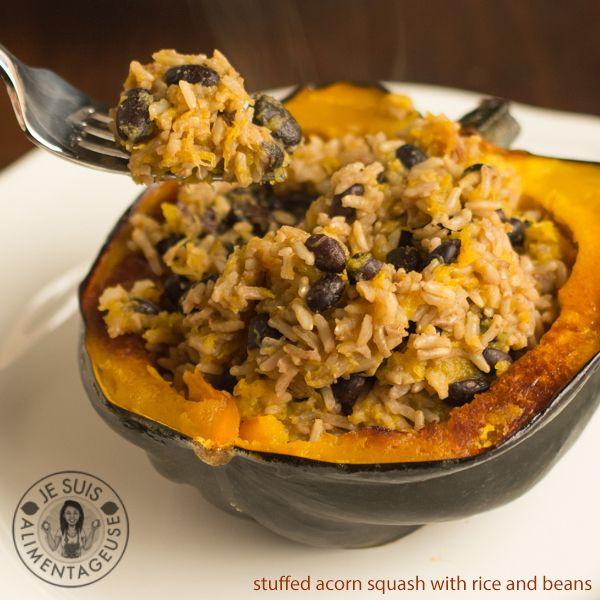 Rice And Beans Stuffed Acorn Squash Recipe Acorn Squash
