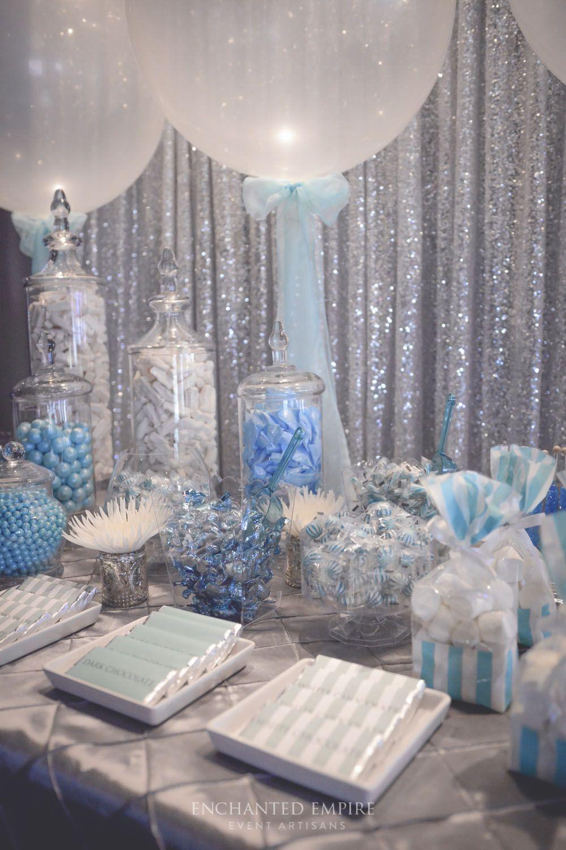 Blue + Platinum Candy Bar Wedding styling by Enchanted