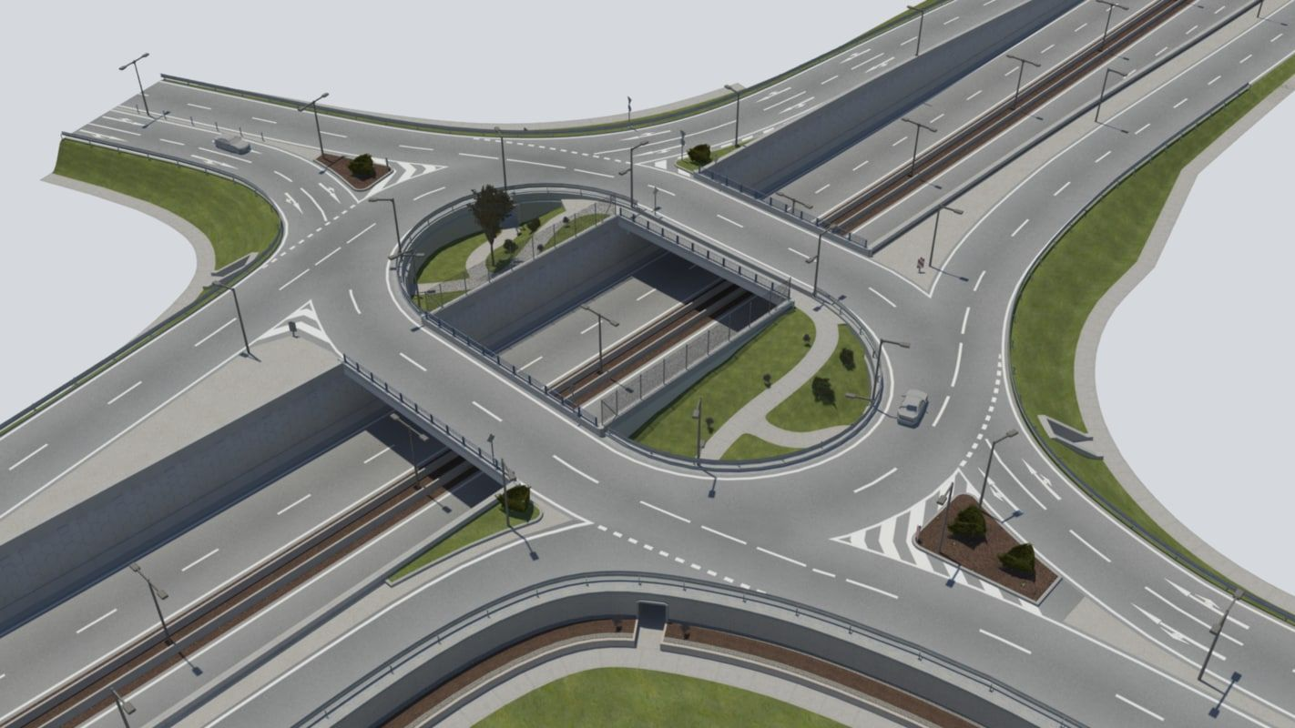 Https Www Turbosquid Com 3d Models Roundabout Bridge Street Signs 3d Model 836528 City Skylines Game City Layout Amazing Architecture