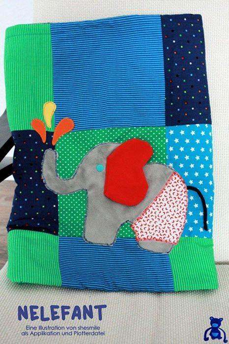Elefant - Nelefant - Mit Wasserspritzer und Badehose ( Eine Applikationsvorlage mit Nähanleitung von shesmile)