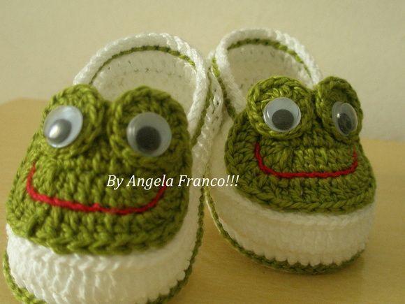 Sapatinho Little Frog | sapatinho de croche menina | Pinterest ...