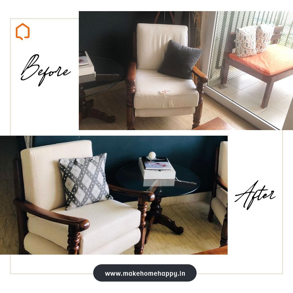 The elegant sofa featured here got a completely new look and went from being outdated to being eye-catching and with a fresh and dynamic design. Get your furniture refurbish today! Contact us for more details! #mycosyhome #colourpop #colourfulchairs #colourfulhome #beautifulhomesindia #livingroom #livingroomideas #eclecticdecor #eclectichome #eclecticmix