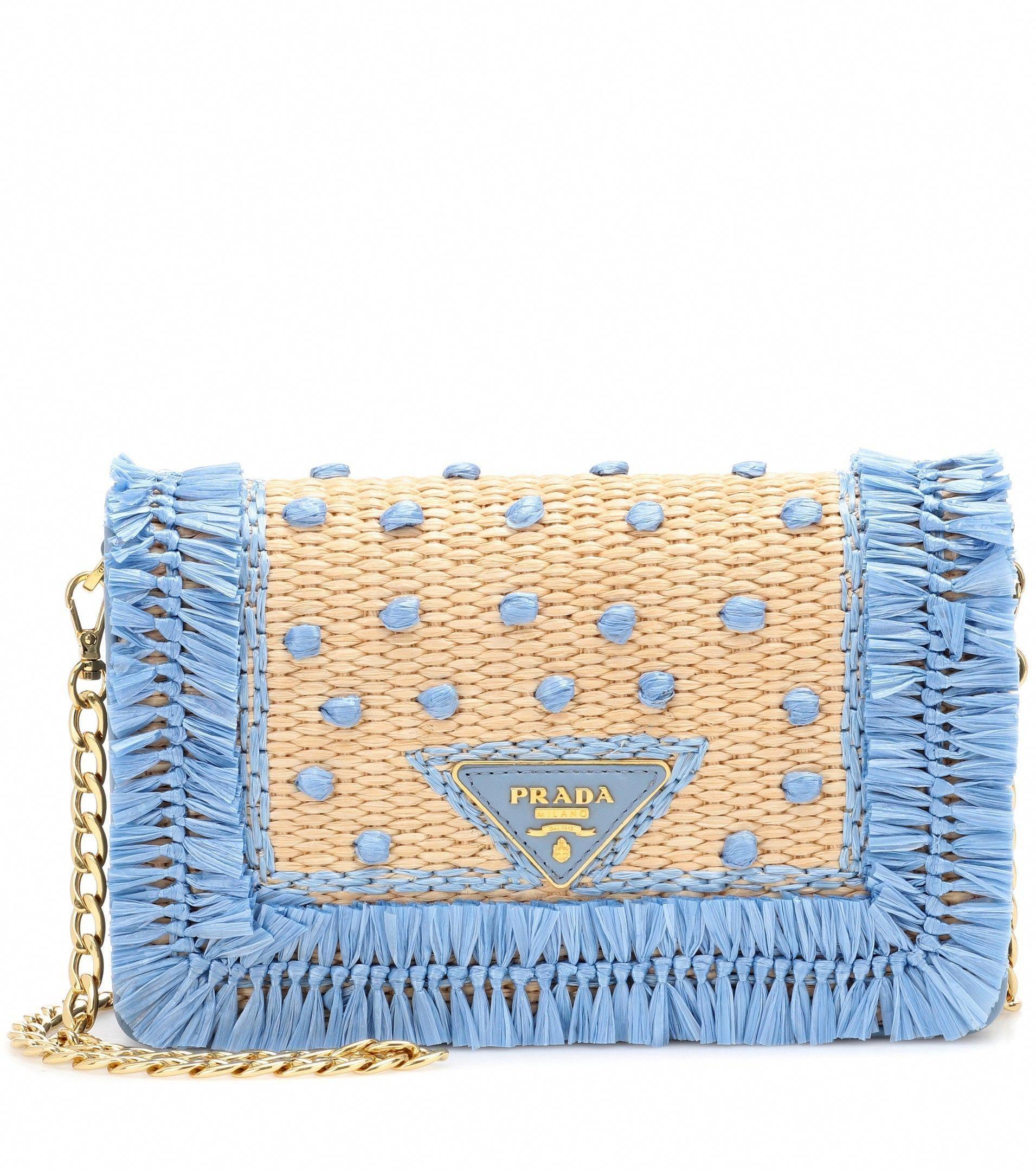 e369cfb307c1 Leather And Raffia Shoulder Bag   Prada - mytheresa.com - Sale! Up to 75%  OFF! Shop at Stylizio for women's and men's designer handbags, luxury  sunglasses, ...