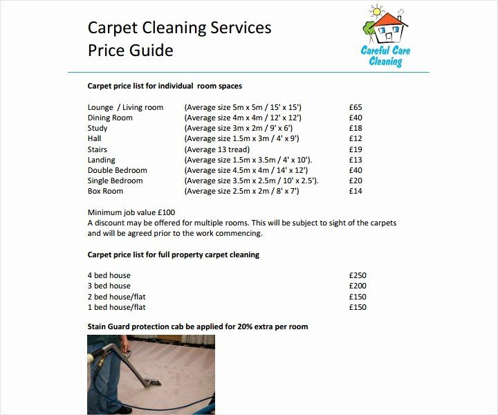 Cleaning services price list template lovely 8 cleaning