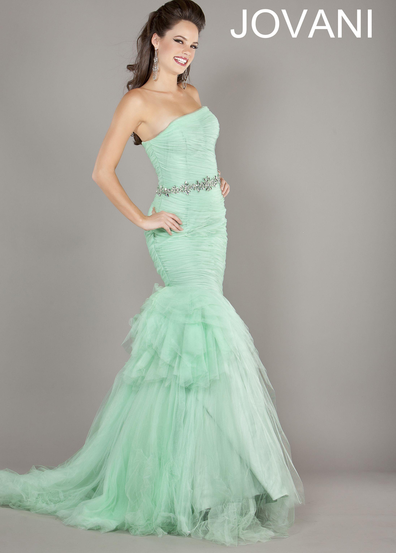 Shop here Jovani 64351 light green strapless mermaid prom dresses ...