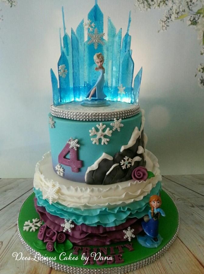 Frozen Ice Castle And Ruffles Cake By