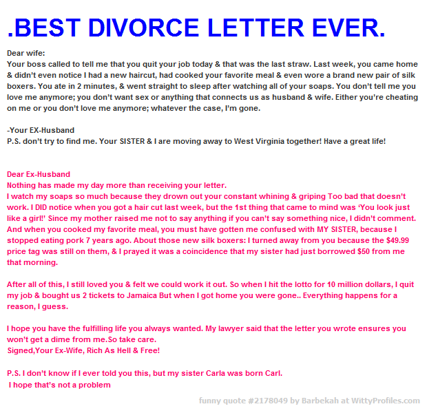 Best Divorce Letter Ever Dear Wife Your Boss Called To -3521