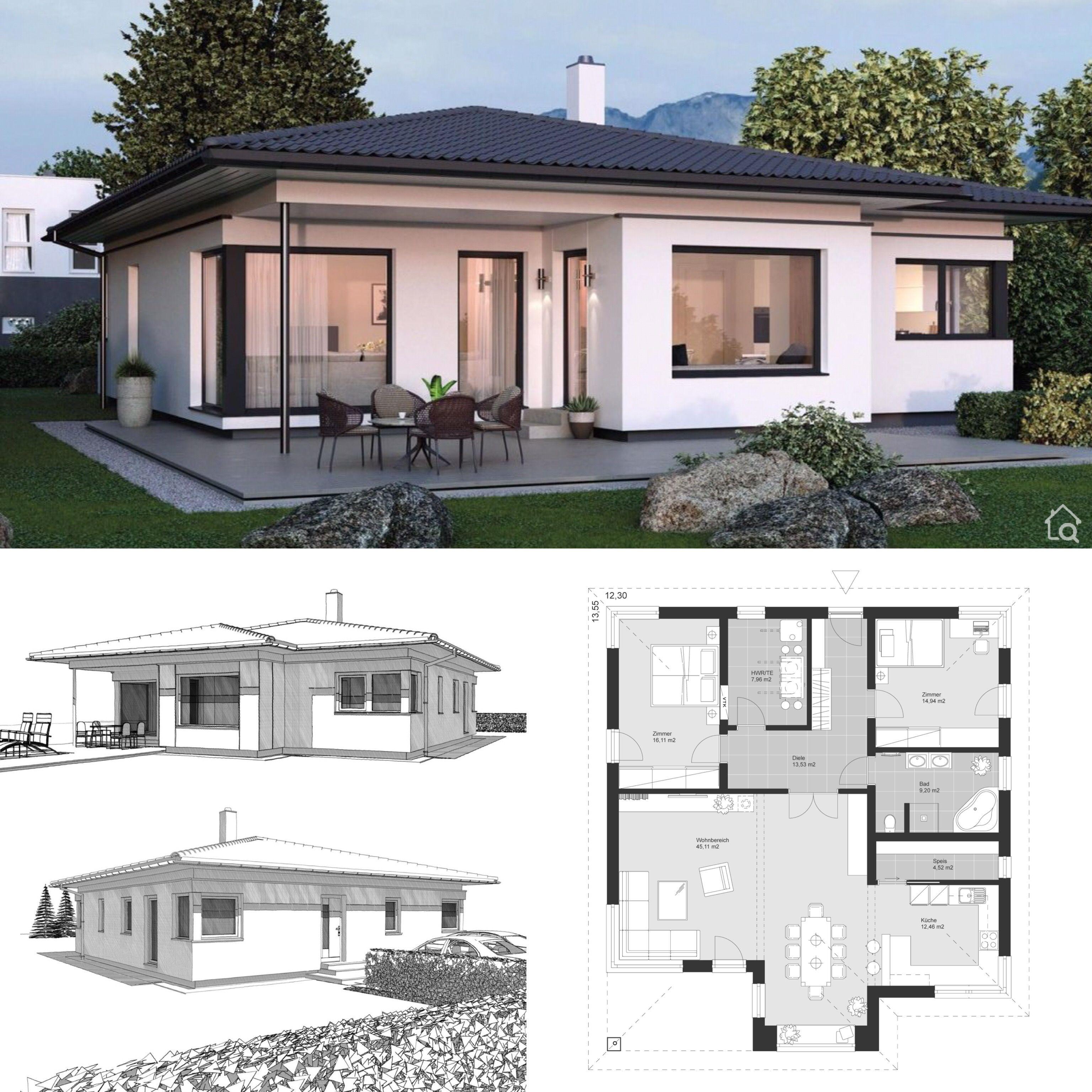Bungalow Haus Design modern mit Walmdach & Erker