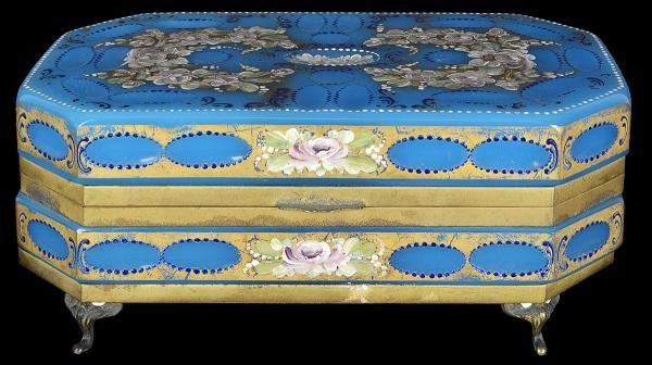 Caixa de opalina francesa do sec. XIX na cor azul, decorada com flores com pintura em policromia sob