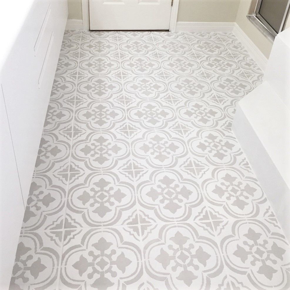 How I Painted and Stenciled My Old Outdated Tile Floor is part of Painted bathroom floors, Painting tile floors, Painting ceramic tile floor, Tile bathroom, Stenciled tile floor, Painting tile - Learn how I painted and stenciled my old outdated tile floor  It truly is an easy DIY that will improve the look of your home  Don't be scared and give it a try!