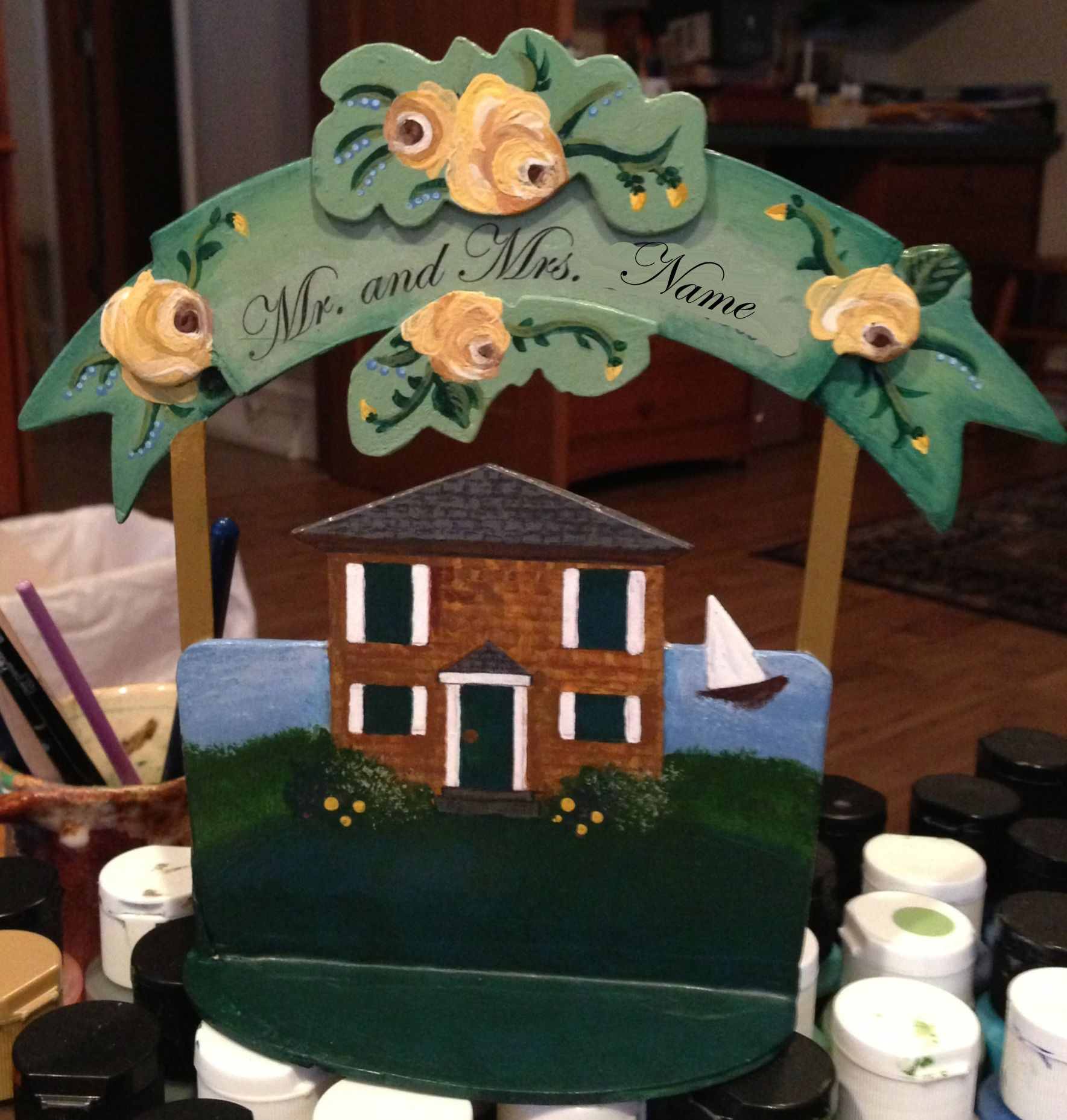 Completed cake topper side a name removed mt hope farm wedding