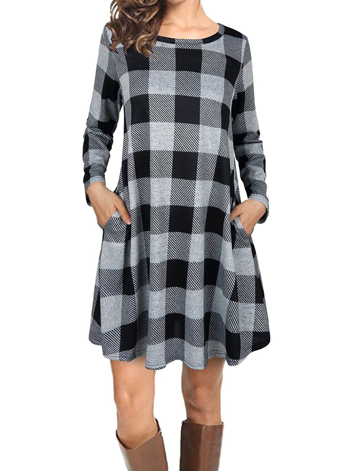 Fansic women casual long sleeve loose checkered plaid swing tunic t