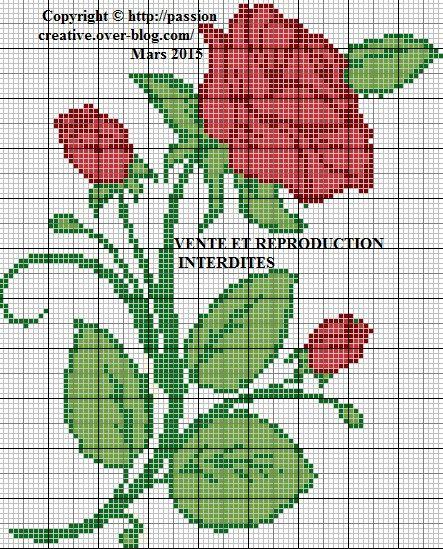 Grille gratuite point de croix rose rouge le blog de - Broderie point de croix grilles gratuites fleurs ...
