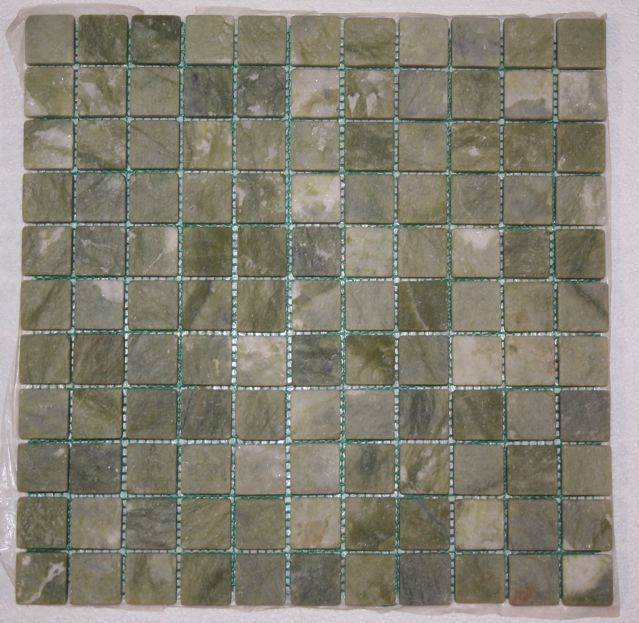 "Splashback Tile Tectonic Harmony Green Quartz Slate And: This 12"" X 12"" Mesh Backed Tumbled Veggie Green Marble"