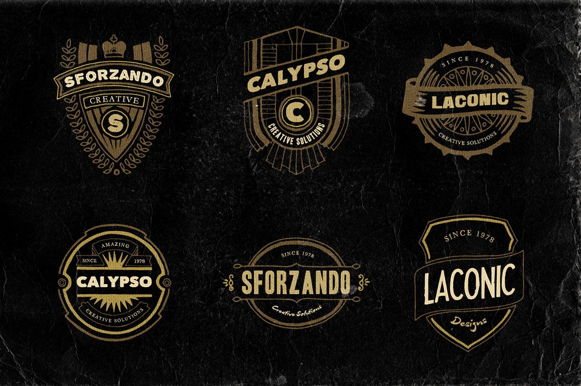 18 Hand Drawn Vintage Badges v.2 by Cruzine on Creative Market