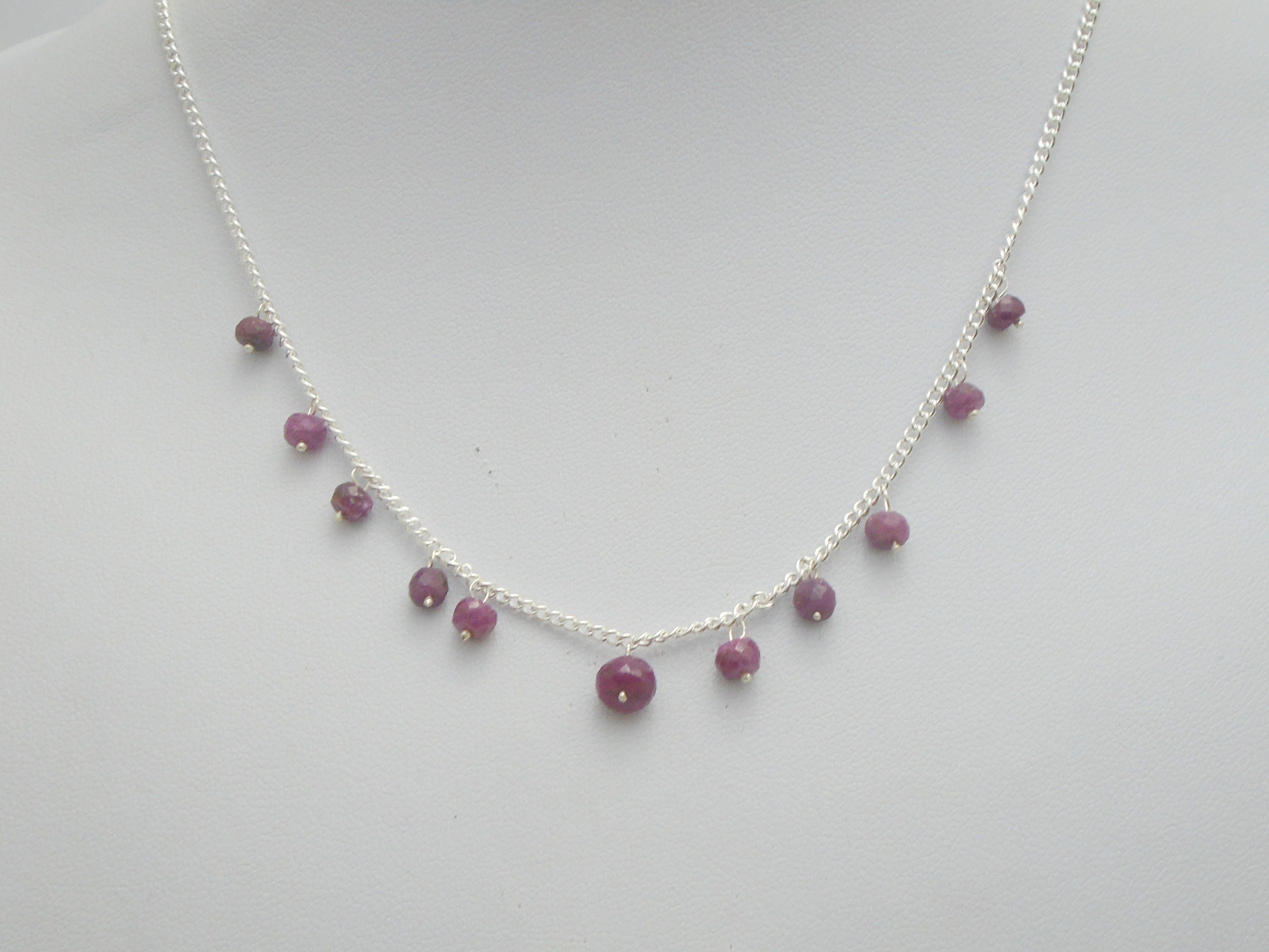 Photo of Floating Ruby necklace, Natural Ruby necklace, Ruby jewelry, red gemstone necklace, July birthstone, sterling silver necklace, gift for her