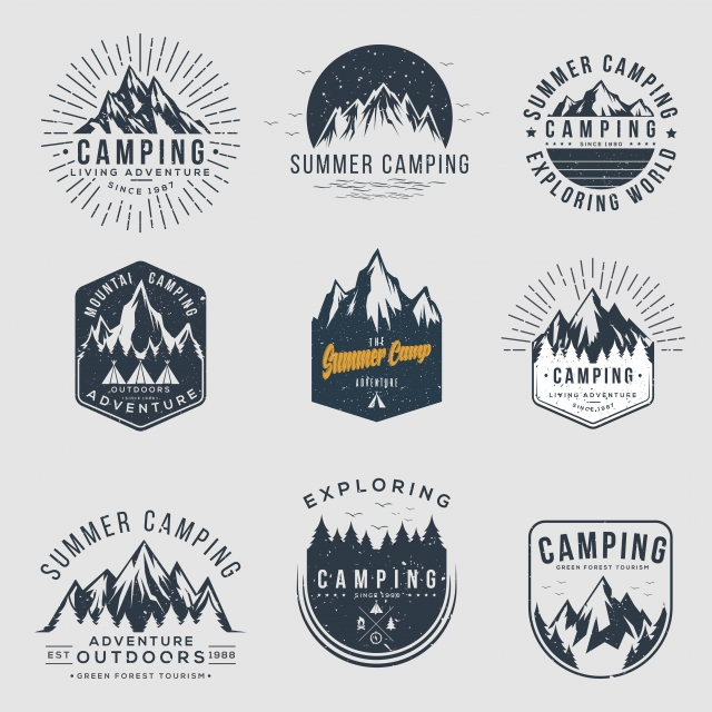 Vector Set Of Camping And Outdoor Adventure Vintage Logos Emblems Silhouettes And Design Elements Vector Vector Adventure Logo Vintage Logo Adventure Logo Design