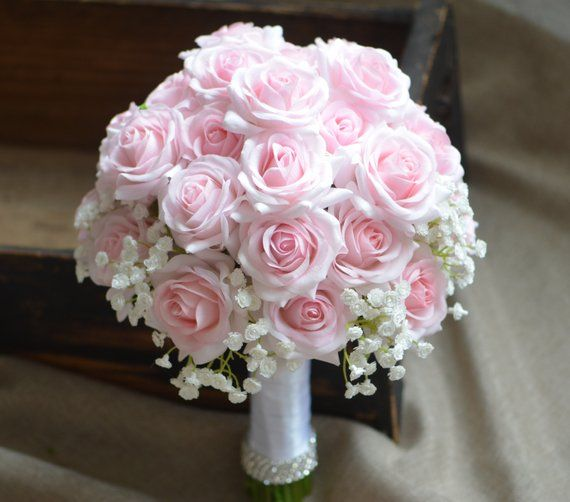 Pink Roses Bouquets Real Touch Pale Pink Roses Bridal Bouquets Silk Wedding Bouquets #fantasticweddingbouquets