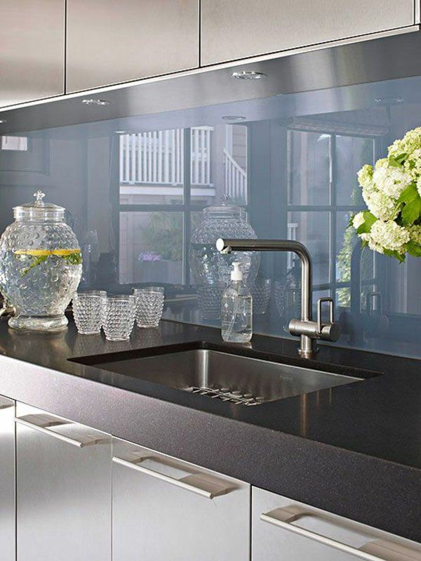 Plexiglas für küche  fliesenspiegel glas küchenrückwand plexiglas blau | mutfak ...